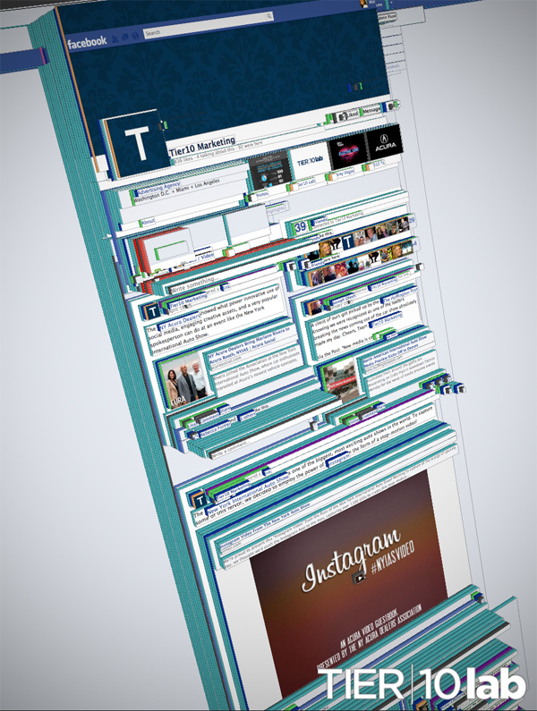 Firefox's TILT 3D Rendering of the new Facebook Timeline