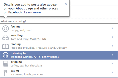 Facebook Status Options Update