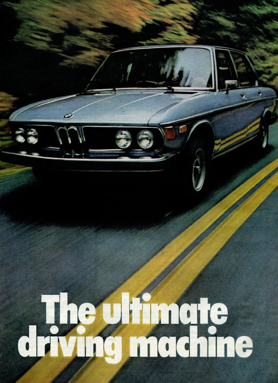 "BMW Ad with Slogan ""The Ultimate Driving Machine"" from 1975"